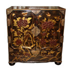 A 19th Century Japanese Plum Colored Lacquer Cabinet - A 19th Century Japanese Plum Colored Lacquer Cabinet, decorated with subtle gold and burgundy peonies, birds, and cherry blossoms,the front doors opening to reveal seven drawers for storage, with an additional drawer below the doors, embellished with etched brass original hardware and appliqués, and with the whole raised on flattened bun feet