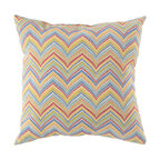 """Surya - Chevron Square Pillow ZZ-424 - 13"""" x 20"""" - Adding creative color to the classic chevron print, this pillow is the perfect solution to updating your decor! Featuring a multi-color chevron pattern, this piece will not only add a pop of color to your space, but also provides a fashionable design sure to catch the eye of any beholder. This pillow provides a reliable and affordable solution to updating your indoor or outdoor decor."""