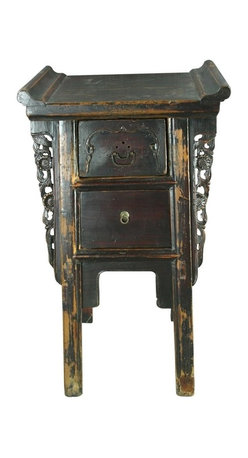 EuroLux Home - Small Consigned Antique Chinese Carved Altar Table - Product Details