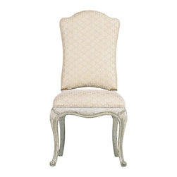 """Stanley Furniture - Arrondissement Volute Side Chair - An antique brass nailhead trim coordinates beautifully with the repeating scroll design of the Monarque fabric on the Volute Side Chair. This regal design features an upholstered back and seat for the ultimate in dining comfort. Seat 20 1/2"""" W X 20 1/4"""" D Made to order in America."""