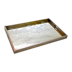 "Notre Monde - Branch Rectangular Tray - The Branch rectangular tray intrigues with nature-inspired style. A silver tree silhouette on antique mirror glass gives this silver leaf-rimmed design modern textural depth. 20""W x 30""H"