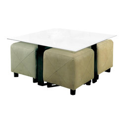 Coaster - Coaster Cermak Contemporary Square Black Metal Base Glass Top Cocktail Table - Coaster - Coffee Tables - 700026 - Product Description: This sleek contemporary cocktail table will be a wonderful addition to your living room. A simple black metal base has an architectural look with crossing stretchers at the top and base. The sophisticated square beveled glass top lightens this modern look. This coffee table will blend easily with your decor and can be paired with a variety of small ottomans for a great multi-functional style that is ideal for entertaining. Add this beautiful table to your living room for a fresh look that you will truly love. The footstools are sold separately. Product Collection Description: The Cermak collection will be great in your home. Create a clean and sophisticated style with elegant modern flair. Sleek black metal and cool glass come together for a harmonious contemporary style that you will love.