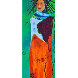 """Know (Original) by Amy Tuso - """"Know"""" is a delightfully colorful acrylic painting of one of my southwest inspired people who is connected spiritually to knowing other souls.  The wild hair is one of my trademarks and is actually inspired by my wake-up look..."""