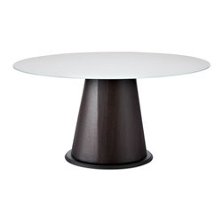 Domitalia - Palio-152 Round Table - Wenge Base - Extra White Glass Top - The Palio Dining Table is defined by it conical pedestal base and broad table top. It features wood and wood veneer construction with table top options. Select Oak veneer/Wenge finish base with Extrawhite glass table top; Walnut Canaletto base with Walnut Canaletto veneered top; Walnut Canaletto base with Extrawhite glass table top or White glossy lacquered base with Extrawhite glass table top.