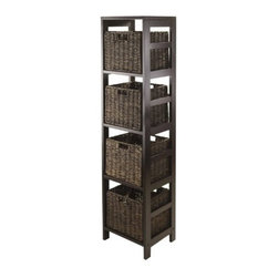 Winsome Wood - Granville Storage Tower Shelf, Espresso, Set of 5 - Our Granville Storage Tower Shelf is perfect to store and organize your goodies. This shelf is made from combination of solid and composite wood.