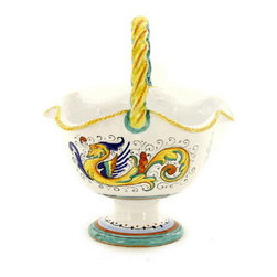 Artistica - Hand Made in Italy - RAFFAELLESCO: Basket with braided handle - RAFFAELLESCO Collection: Among the most popular and enduring Italian majolica patterns, the classic Raffaellesco traces its origin to 16th century, and the graceful arabesques of Raphael's famous frescoes.