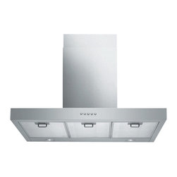 "Spagna Vetro - SPAGNA VETRO 24; SV198Z-24 Wall-Mounted Stainless Steel Range Hood - Mounting version - Wall Mounted 860 CFM centrifugal blower Three-speed mechanical, soft-touch push button control panel Two 35W halogen lights (Type: GU-10) Aluminum multi-layers micro-cell dishwasher-friendly grease filter(s) Machine crafted stainless steel (brushed finish) 6"" round duct vent exhaust and back draft damper Convertible to duct-free operation (requires optional charcoal filter) Telescopic flue accommodates 8ft to 9ft ceilings (optional flue extension available for up to 10ft ceiling) Full Seamless Stainless Steel For residential use only, one-year limited factory warranty"