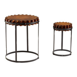 Kathy Kuo Home - Set of 2 Landry Rustic Wood Farmhouse Gear End Tables - Medallion, gear, wheel��_ You name it, this rustic duo references it!  With rugged good looks and boldly carved details, these two deliver interest and functional seating in a variety of rustic settings from farmhouses to industrial lofts.  This is an antique reproduction.
