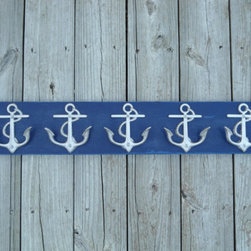 "Anchor Coat Rack by Riri Creations - I'd place these anchor wall hooks in my ""someday"" cottage entry. They would be perfectly paired atop some baskets for quick towel and flip flop storage."
