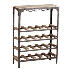 "Joshua Marshal - Raw Iron / Natural Wood 34"" Gallatin Wine Rack Wine Rack - Raw Iron / Natural Wood 34"" Gallatin Wine Rack Wine Rack"