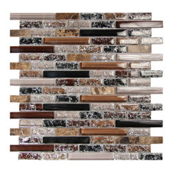 Crackled Glass Tile Mosaic Lineal Pattern, Nyb-Sx002, Box - Sold by the box 11 sheets