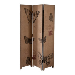 """Southern Enterprises Inc - Southern Enterprises Inc Mariposa Room Divider X-5370AG - Define space and add a fun, vintage touch with this beautiful room divider. It's the perfect accent to define your space and your style in one! This room divider features a black frame with a natural burlap finish and beautiful butterfly designs in black and red. This vintage style room divider is perfect for homes with any d&#233:cor, especially transitional to contemporary homes. This room divider looks wonderful in any space that needs a little definition. Please note: Our photos are as accurate as possible, but color discrepancies may occur between the product and your monitor. The handcrafted touch of artisan skill also creates variations in color, size and design: slight differences should be expected. - 47.75"""" W x 1"""" D x 69.25"""" H - Natural burlap and multicolored designs - Black finish frame with copper finish nails - Approx. weight: 46 lb. - Materials: fir, MDF, burlap, polyurethane, metal - No assembly required: simply unfold to use"""