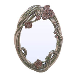 US - 15.75 Inch Wall Mirror Oval with Bas Relief Face Pink Roses - This gorgeous 15.75 Inch Wall Mirror Oval with Bas Relief Face Pink Roses has the finest details and highest quality you will find anywhere! 15.75 Inch Wall Mirror Oval with Bas Relief Face Pink Roses is truly remarkable.