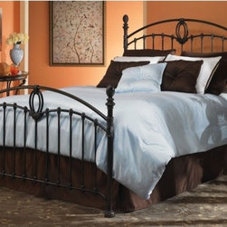 "FBG - Coronado Metal Bed - This transitional styled metal bed has curved top rails, delightful woven-look finials, and a bowed bottom rail on the footboard. Features: -Tarnished copper finish.-Powder Coated Finish: Yes.-Gloss Finish: Yes.-Finish: Tarnished Copper.-Hardware Finish: Black.-Frame Material: Metal.-Upholstered: No.-Number of Items Included: 1 Headboard, 1 Footboard, 1 Bed Frame.-Hardware Material: Metal.-Non Toxic: Yes.-Scratch Resistant: No.-Mattress Included: No.-Box Spring Required: Yes -Boxspring Included: No..-Headboard Storage: No.-Footboard Storage: No.-Underbed Storage: No.-Slats Required: No.-Center Support Legs (Size: Full): No.-Center Support Legs (Size: King): Yes.-Center Support Legs (Size: Queen): Yes.-Adjustable Headboard Height: No.-Adjustable Footboard Height: No.-Wingback: No.-Trundle Bed Included: No.-Attached Nightstand: No.-Cable Management: No.-Built in Outlets: No.-Lighted Headboard: No.-Finished Back: Yes.-Reclaimed Wood: No.-Number of Center Support Legs (Size: Full): 0.-Number of Center Support Legs (Size: King): 2.-Number of Center Support Legs (Size: Queen): 2.-Distressed: No.-Bed Rails Included: Yes.-Collection: Coronado.-Eco-Friendly: No.-Recycled Content: No.-Wood Moldings: No.-Canopy Frame: No.-Hidden Storage: No.-Jewelry Compartment: No.-Weight Capacity: 750 lbs.-Swatch Available: No.-Commercial Use: No.-Product Care: Wipe with a clean, damp cloth.Specifications: -FSC Certified: No.-EPP Compliant: No.-CPSIA or CPSC Compliant: No.-CARB Compliant: No.-JPMA Certified: No.-ASTM Certified: No.-ISTA 3A Certified: No.-PEFC Certified: No.-General Conformity Certificate: No.-Green Guard Certified: No.Dimensions: -Overall Height - Top to Bottom (Size: Full): 58.25"".-Overall Height - Top to Bottom (Size: King): 58.25"".-Overall Height - Top to Bottom (Size: Queen): 58.25"".-Overall Width - Side to Side (Size: Full): 55"".-Overall Width - Side to Side (Size: King): 78"".-Overall Width - Side to Side (Size: Queen): 62"".-Overall Depth - Front to Back (Size: Full): 80.57"".-Overall Depth - Front to Back (Size: King): 86.57"".-Overall Depth - Front to Back (Size: Queen): 85.57"".-Overall Product Weight (Size: Full): 88 lbs.-Overall Product Weight (Size: King): 107 lbs.-Overall Product Weight (Size: Queen): 102 lbs.-Headboard Dimensions Height (Size: Full): 58.25"".-Headboard Dimensions Height (Size: King): 58.25"".-Headboard Dimensions Height (Size: Queen): 58.25"".-Headboard Width Side to Side (Size: Full): 55"".-Headboard Width Side to Side (Size: King): 78"".-Headboard Width Side to Side (Size: Queen): 62"".-Headboard Depth Front to Back (Size: Full): 1.5"".-Headboard Depth Front to Back (Size: King): 1.5"".-Headboard Depth Front to Back (Size: Queen): 1.5"".-Footboard Height (Size: Full): 38"".-Footboard Height (Size: King): 38"".-Footboard Height (Size: Queen): 38"".-Footboard Width - Side to Side (Size: Full): 55"".-Footboard Width - Side to Side (Size: King): 78"".-Footboard Width - Side to Side (Size: Queen): 62"".-Footboard Depth - Front to Back (Size: Full): 1.5"".-Footboard Depth - Front to Back (Size: King): 1.5"".-Footboard Depth - Front to Back (Size: Queen): 1.5"".-Top of Headboard to Bedframe: 49.25"".-Bottom of Side Rail to Floor (Size: Full): 5"".-Bottom of Side Rail to Floor (Size: King): 5"".-Bottom of Side Rail to Floor (Size: Q"
