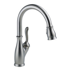 Delta Single Handle Pull-Down Kitchen Faucet - 9178-AR-DST - The Leland Bath Collection gracefully reinterprets the time-honored teapot design with decorative, traditional detailing.