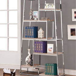Coaster - Bookshelf, Reclaimed Wood - Stay organized and add a contemporary style to your home office or living room. This bookshelf features a unique tapered shape with staggered shelving. Finished in a stylish reclaimed wood look with chrome accents.