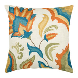 "Off White and Multi Floral 18"" x 18"" Pillow  Set of 2 - *18"" x 18"" Pillow with Hidden Zipper"