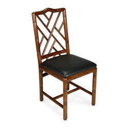 """Sarreid Ltd - Antique Teak Bamboo Dining Chairs, Set of Four - These beautiful and simple dining chairs are hand-carved of birch with bamboo motifs inspired from pieces made for George IV, the Prince Regent, in the 1820's. These great looking Brighton Bamboo side chairs are finished with an antique teak stain and upholstered in a durable sleek faux black leather. (SA) 17"""" wide x 21 1/2"""" deep x 39"""" high Seat height: 20"""" high Sold as a set of 4. You may choose from the drop down if additional chairs are needed. Additional costs is applied."""