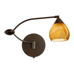 Besa Lighting - 1WU-5605HN-BR Besa Lighting Tay Tay - Arm rotates 155 degrees and pivots at the center. Lamp head rotates and pivots, Comes with an integrated full-range rotary dimmer. Cord kit also available, product ID T120.. UL Listed: suitable for Damp Locations. Height: 6.75 inches. Width / Diameter: 19 inches. Extension / Depth: 19 inches. The Tay Tay is a compact handcrafted glass, softly radiused to fit gracefully into contemporary spaces. This unique dEcor is handcrafted, with layered swirls of yellow-amber and golden-brown against white, finished to a high gloss. It's classic swirl pattern and high gloss surface has a truly florid gleam. Honey is a hand-blown glass designed to have a shiny and polished finish. The glass is gathered and rolled into shape a unique pattern is formed that cannot be replicated. This blown glass is handcrafted by a skilled artisan, utilizing century-old techniques passed down from generation to generation. Each piece of this dEcor has its own unique artistic nature that can be individually appreciated. The swingarm fixture includes a 12V electronic transformer and integrated full-range rotary dimmer. The adjustable arm assembly allows for 155 degree rotation and pivots at the clamshell-shaped center connection. These stylish and functional luminaries are offered in a beautiful brushed Bronze finish.