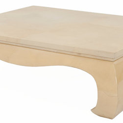 """Karl Springer - Consigned Karl Springer """"Ming"""" Lacquered Coffee Table - Stunning large circa 1970's """"Ming"""" designed square coffee table, attributed to Karl Springer. Executed in faux goat skin and with a heavy lacquered finish. Beautiful table, outstanding quality."""