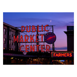Public Market Center, Seattle, Washington Print - Public Market Center, Seattle, Washington, Photographed by Carol M. Highsmith, Aug. 24, 2009 as a digital file.Pike Place Market is a public market overlooking the Elliott Bay waterfront in Seattle, Washington, United States. The Market opened August 17, 1907, and is one of the oldest continually operated public farmers' markets in the United States.