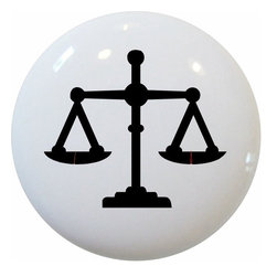 Carolina Hardware and Decor, LLC - Scales of Justice Ceramic Cabinet Drawer Knob - New 1 1/2 inch ceramic cabinet, drawer, or furniture knob with mounting hardware included. Also works great in a bathroom or on bi-fold closet doors (may require longer screws).  Item can be wiped clean with a soft damp cloth.  Great addition and nice finishing touch to any room.
