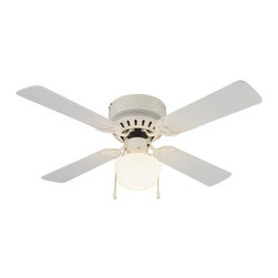 Design House - Millbridge 42-Inch White Hugger Fan - The Millbridge Collection of fans is transitional styling in multiple finishes, styles, and sizes, and is designed to meet the tightest of budgets.  -White Finish With Opal Schoolhouse Glass Shade  - 42 Fan With Bleached Oak Blades (White On Reverse Side)  - Light Kit - Included   - Install With Or Without Light Kit  - Pullchain Motor Control  - 3 Speed Reversible Motor Design House - 157958