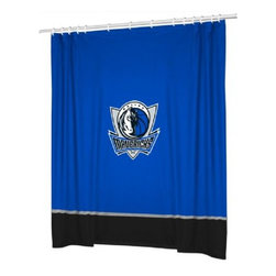 Sports Coverage - Sports Coverage NBA Dallas Mavericks Sideline Shower Curtain - Spruce up your Bathroom and show your NBA spirit with this Dallas Mavericks Shower Curtain from Sports Coverage! This NBA Shower Curtain is the perfect for any real fan.   Features:   -  Centered NBA team logo on team colors,    - Soft leather texture-printed stripe,    -  Officially Licensed,    -  Machine washable,     -  Made in USA,    - 72 H x 72 W,
