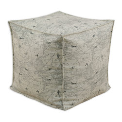 """Chooty - Chooty Air Traffic Collection 17"""" Square Seamed Beads Hassock - Insert EPS Styrofoam Beads, Fabric Content 100 Cotton , Color Off White, Charcoal, Ottoman 1"""
