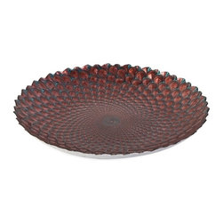 """IMAX - Orley Glass Charger - In shades of coral and teal, this brilliant glass bowl bears a scale like texture reminiscent of spectacular marine life. Item Dimensions: (2.75""""h x 19.25""""w x 19.25"""")"""