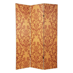 "Oriental Furniture - 6 ft. Tall Double Sided Damask Room Divider - A uniquely attractive three panel room divider, crafted from canvas covered wood framed panels, with a beautiful, distinctive old world wall paper pattern printed onto the canvas. The large dark medallions on the light background are elaborated variations of the classic ""fleur-di-lis"" design, often translated as ""lily flower"", popular in ancient France, Spain, Belgium, and Holland."