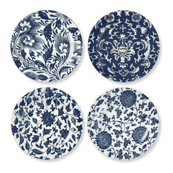Jardin Chinois Salad Plates, Set of 4 - Jump on the chinoiserie bandwagon with these Jardin plates. The classic blue will stay relevant for years to come.