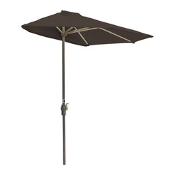 """Blue Star Group - OFF-THE-WALL BRELLA 7.5 Ft. Half Umbrella - Chocolate - Sunbrella Fabric - What a great new idea!  OFF-THE-WALL BRELLA is a half-canopy patio umbrella that stands, without attachment, flush against a wall, window, sliding glass door or any vertical surface.  This decorative and portable faux-awning provides cooling shade and welcomed protection from the elements.  Now, homeowner's and condominium dwellers alike can open their drapes to enjoy the view and be sheltered from the hot sun or rain.  The Chocolate color canopy is made of Sunbrella Fabric fabric for long lasting durability and color.  The sturdy frame has a tough, powder coat, Champagne color finish and a hand crank for easy raising and lowering of the canopy.  Fully opened, the umbrella stands 94"""" H x 88"""" W x 45"""" D.  When closed, the upper pole and canopy can be separated from the lower pole for compact storage."""
