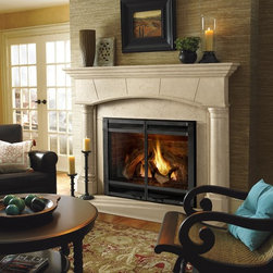 Heat & Glo - Traditional Style - Direct Vent Fireplaces - 8000CL shown with halston front in black and biltmore cast mantel in machiatto.