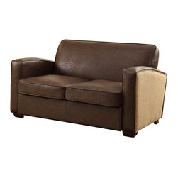 Armen Living - Armen Living Antique Brown Loveseat with Natural Jute and Accent Nails - LC10792 - Shop for Sofas and Loveseats from Hayneedle.com! Sit with someone special on the Armen Living Antique Brown Loveseat with Natural Jute and Accent Nails. This two-tone loveseat with natural chute fabric and bonded brown leather pieced together with antique nails for beautiful accent lines would look great in a den private study or perhaps even your home living room. Antique though it may look this armchair is built from the newest and most reliable materials including a hardy kiln-dried wood frame that will hold up well for countless years to come. Measures: 56W x 31D x 31H inches and cushioned with 1.8 density fire retardant foam.About Armen LivingImagine furniture without limits - youthful robust refined exuding self-expression at every angle. These are the tenets Armen Living's designers abide by when creating their modern furniture collections. Building on more than 30 years of industry experience Armen Living combines functional versatility and expert craftsmanship into their dramatic furniture styles all offered at price points fit for discriminating budgets. Product categories include bar stools club chairs dining tables ottomans sofas and more. Armen Living is based in Sun Valley Calif.