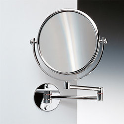 Windisch - Wall Mounted Double Face Brass 3x, 5x, 5xop, or 7xop Magnifying Mirror - Double face magnifying mirror (one side regular, one side magnifying).