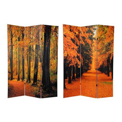 Oriental Unlimted - 3 Panel Double-Sided Room Divider - Autumn Tr - One double-sided divider, both sides shown in image. Lovely deciduous trees emblazoned with their remarkable range of natural fall colors. Outstanding home d̩cor art accent as well as a fine quality folding screen. Double layers of canvas provide privacy as well as a stunning beautiful and unique decorative floor screen. Great for dividing space, temporarily blocking a window or doorway or providing a burst of color and interest in a barren corner. These large and beautiful images can be mounted on the wall behind a sofa, bed or on any bare wall. Well crafted and sturdy kiln dried wood frame panels covered with hardy and lightweight, poly-cotton blend canvas. Each panel: 15.75 in. W x 70.88 in. H. Base weight: 8.25 lbs.