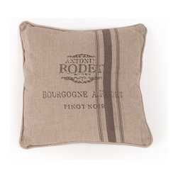 """Zentique - French Pillow, """"Antonin Rodet: Bourgogne A. Rodet Pinot Noir"""" - The French Pillow collection features a natural linen pillow with variations to choose from."""