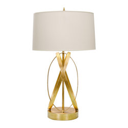 Worlds Away - Worlds Away Cleo Gold Leaf Table Lamp - The Worlds Away Cleo table lamp shines with golden glamour. Beneath a round white shade, its eccentric loop base forms sinuous and striking style. Gold-leafed base; Parchment shade; Accepts one 60W bulb (not included)
