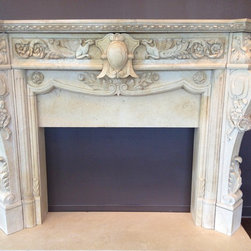 Our new Houston showroom! - SOLD-Model MFP 105 Romantic late 19th century French style mantle in imported Egyptian crème marble (#51). Can be found on website.