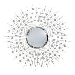 Orion Polished Nickel Large Convex Mirror - Incorporate the radiant geometry of exuberance into your home with the Orion Mirror, a gorgeous wall mirror in an upscale polished-nickel finish.  The bright, convex mirror surface is haloed with slim rays of metal supporting a dewy pattern of disks that convey a sense of gravity defied.  Use this mirror on your wall to give a room lightness and lift when an arrangement grows too heavy.
