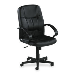 Lorell - Lorell Chadwick Managerial Leather Mid-Back Chair - Leather Black Seat - Managerial mid-back chair offers a fully upholstered design with black, split leather for a rich classic look. Black frame has stylish open loop arms and five-star nylon base with casters for mobility. Functions include pneumatic seat-height adjustment, 360-degree swivel, tilt, and tilt tension. Seat height from floor adjusts from 17-1/2 to 12. Seat cushion is 21-1/2 wide x 19-1/2 deep. Seat back measures 21 wide x 25-1/2 high. Mid-back chair meets the CA117 fire-retardant standard.