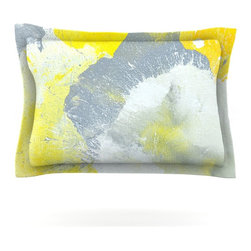 "Kess InHouse - CarolLynn Tice ""Make A Mess"" Yellow Gray Pillow Sham (Cotton, 30"" x 20"") - Pairing your already chic duvet cover with playful pillow shams is the perfect way to tie your bedroom together. There are endless possibilities to feed your artistic palette with these imaginative pillow shams. It will looks so elegant you won't want ruin the masterpiece you have created when you go to bed. Not only are these pillow shams nice to look at they are also made from a high quality cotton blend. They are so soft that they will elevate your sleep up to level that is beyond Cloud 9. We always print our goods with the highest quality printing process in order to maintain the integrity of the art that you are adeptly displaying. This means that you won't have to worry about your art fading or your sham loosing it's freshness."