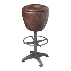 Marco Polo Imports - Sylvain Barstool-Waxed Black - Nostalgic round bar stool with a waxed black metal base with a top grain stool seat.
