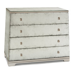 Kathy Kuo Home - Mabelle Hollywood Regency Angled Silver Leaf Mirror Four Drawer Dresser - Talk about Deco chops - this four drawer dresser has angled sides, a minimalist base and feet plus square nickel handles. Did we mention it is clad in beautifully aged silver leaf Eglomise mirror? A gorgeous piece worthy of 1920s Paris.