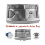 "Miseno - Miseno 33"" Undermount Double Basin Stainless Steel Kitchen Sink Apron Front 16G - Included Free with Your Miseno Sink:"
