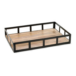 Go Home - Stunning Iron and Wood Spencer Tray - Fantastic Spencer Tray is crafted with Iron and Wood.It offers ample space to display drinks and serve small eats. A perfect addition to your serve ware.It is finished with black Iron and washed wood.