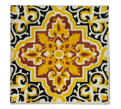 Mexican Artisans - Yellow Talavera Tiles, Box of 15 - Fashionable for centuries, Talavera tiles are prized for their ornate patterns and rich colors. This particular design offers a delightful way to highlight yellow in your kitchen, bath, patio or wherever you want to foster that fiesta vibe.