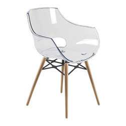 PAPATYA - PAPATYA OPAL WOX ARMCHAIR, Clear W/ Natural Beech Frame - Wox version of Opal is a modern and innovative chair with the polycarbonate shell and the round wooden frames.  Available in solid and transparent colors.  Suitable for home and office use. Indoor use only.