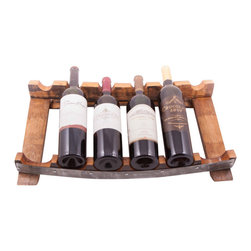 Wine Barrel Concepts - 6-Bottle Counter Wine Rack - Conceived from the union made between the the staves and steel bands of a reclaimed wine barrel, we have made this six (6) bottle countertop wine holder. Makes an elegant and unique gift for friends and family.